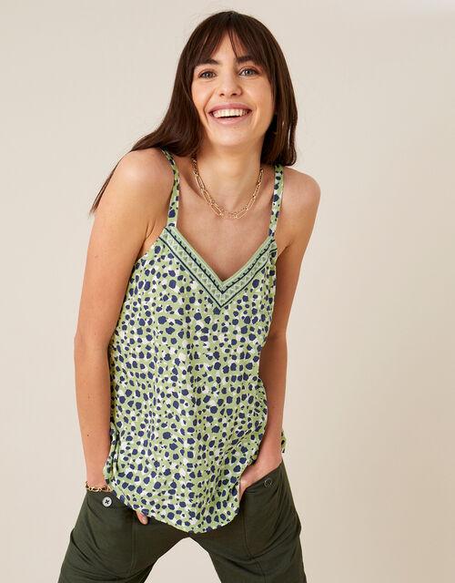 Animal Print Cami in LENZING™ ECOVERO™, Green (GREEN), large