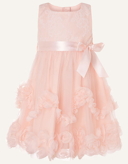 Baby Rosette Lace Dress, Pink (PALE PINK), large