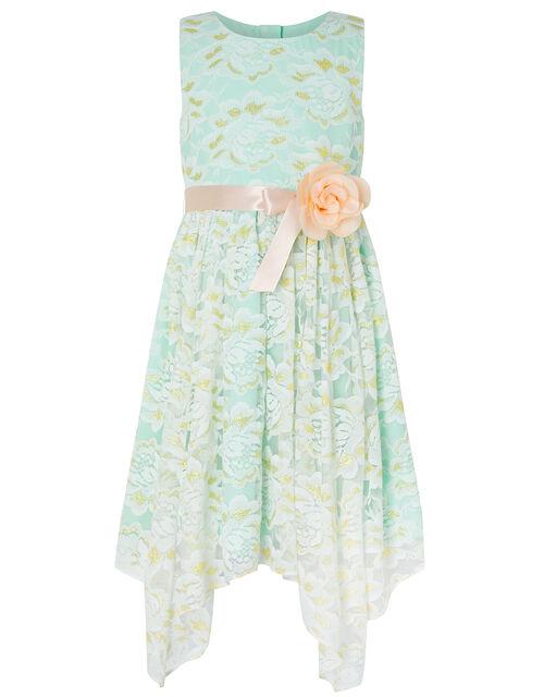 Josie Lace Hanky Hem Dress with Corsage, Green (MINT), large