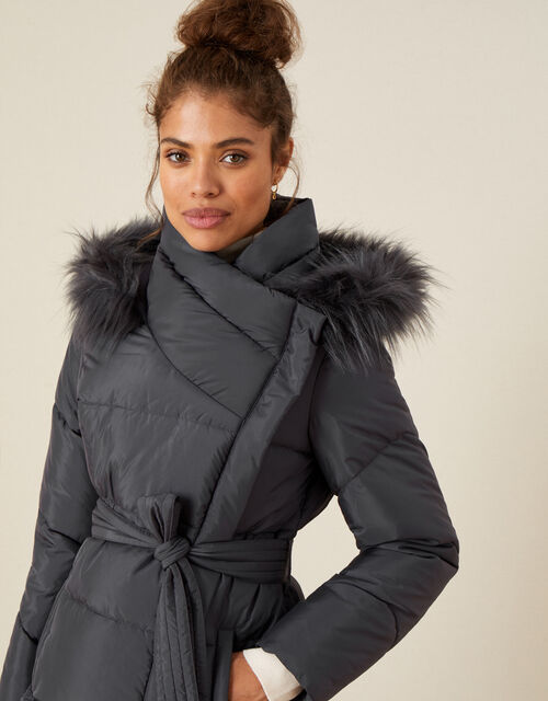 Padded Faux Fur Hooded Coat, Grey (CHARCOAL), large
