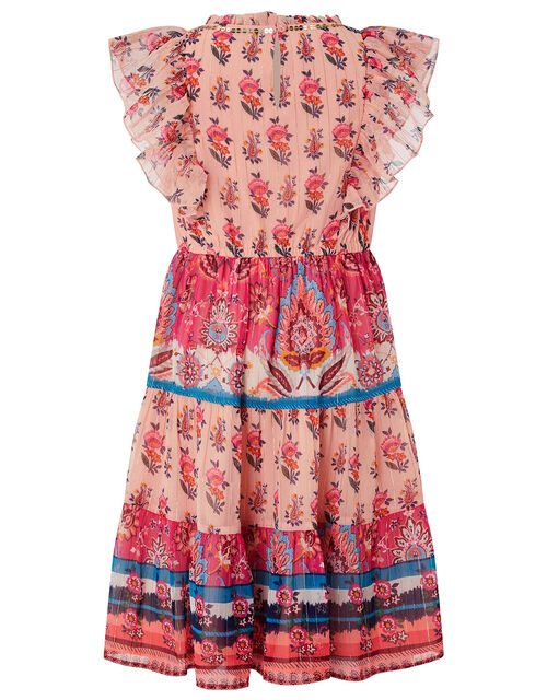 Coral Paisley Dress in Recycled Fabric, Orange (CORAL), large