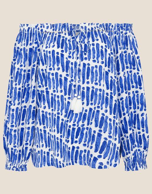 Benita Printed Off-Shoulder Top, Blue (BLUE), large