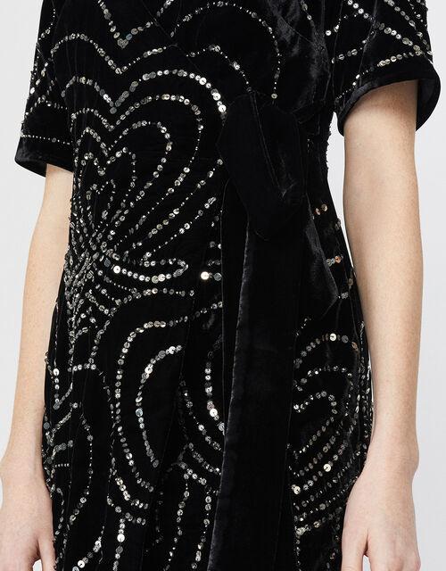 Hanna Embellished Velvet Maxi Dress, Black, large