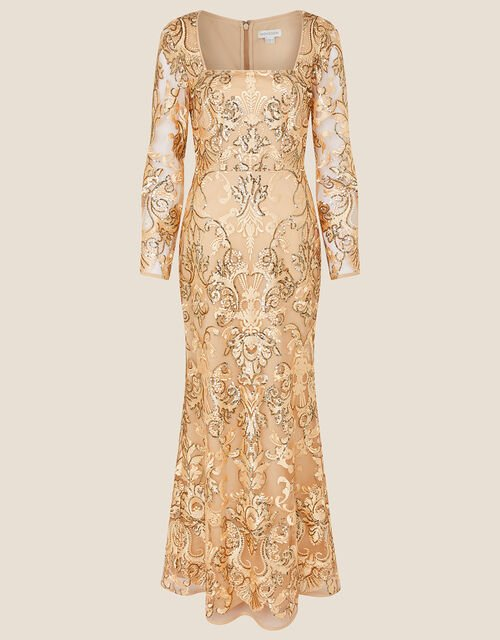 Ariana Sequin Fishtail Maxi Dress, Gold (GOLD), large
