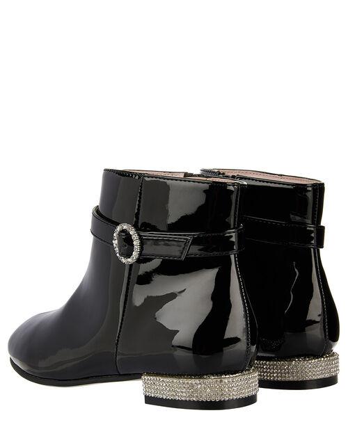 Allegra Patent Diamante Heel Boots, Black (BLACK), large