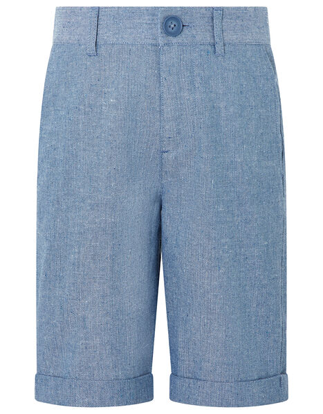 Nathan Chambray Linen Shorts Blue, Blue (BLUE), large