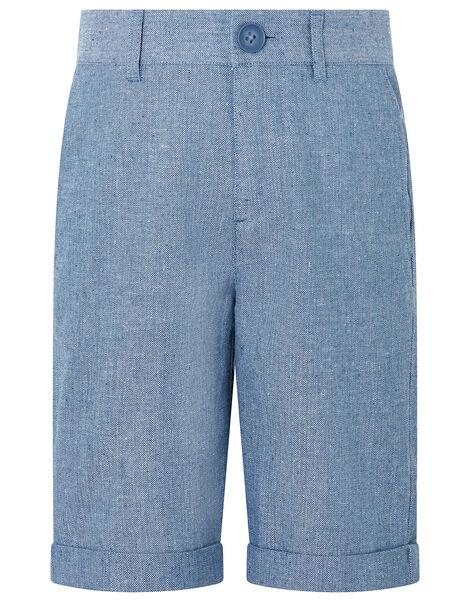 Nathan Chambray Linen Shorts Blue, Blue (BLUE), large