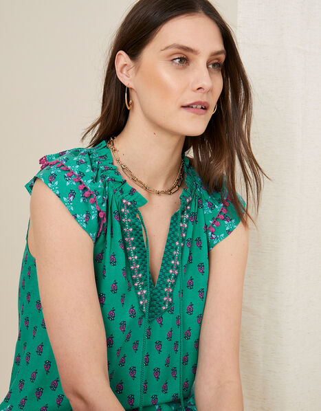 Roopa Embroidered Top  Green, Green (GREEN), large