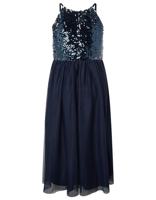 Saskia Reversible Sequin Prom Dress, Blue (NAVY), large