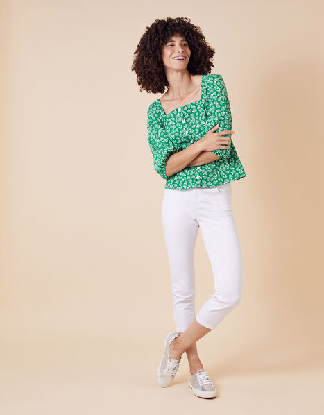 Rose Print Balloon Sleeve Top in Organic Cotton Green, Green (GREEN), large