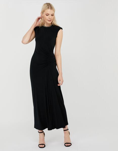 Melissa Beaded Neckline Ruched Maxi Dress Black, Black (BLACK), large