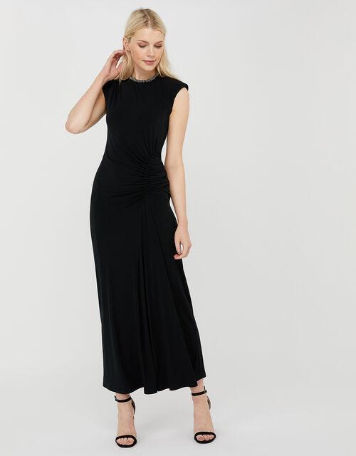 Melissa Beaded Neckline Ruched Maxi Dress, Black (BLACK), large