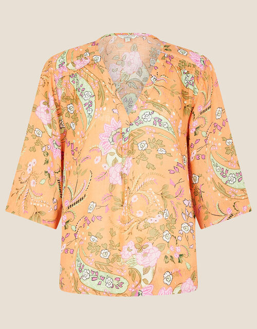 Paisley Print Top in Linen Blend, Orange (CORAL), large