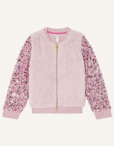 Sequin Sleeve Fur Bomber Jacket Pink, Pink (PINK), large