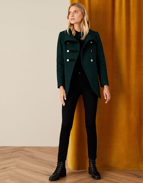Lizzie Military Peacoat in Wool Blend Green, Green (GREEN), large