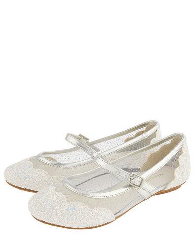 Primrose Sparkle Ballerina Shoes Silver, Silver (SILVER), large
