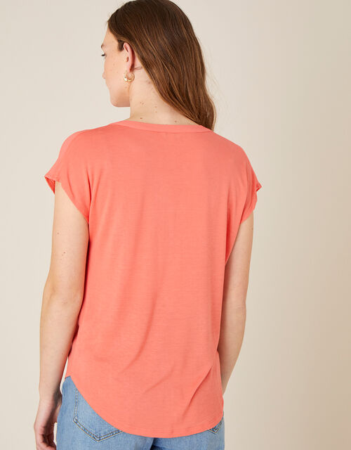 Waverly Button Detail Top , Orange (CORAL), large