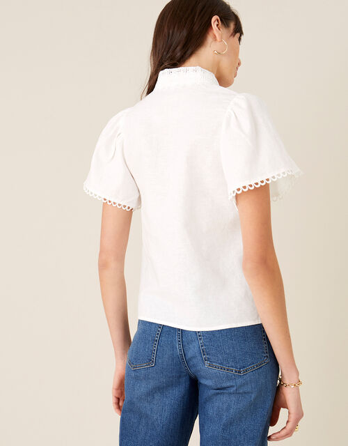 Lace Collar Shirt in Linen Blend, Ivory (IVORY), large
