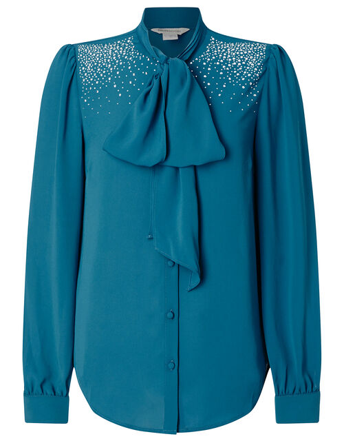 Holly Heat-Seal Gem Pussy-Bow Blouse, Teal (TEAL), large