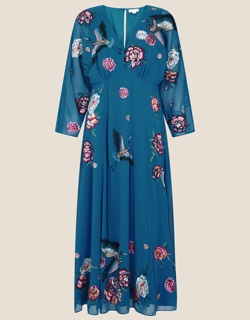 Abby Embroidered Midi Dress, Teal (TEAL), large