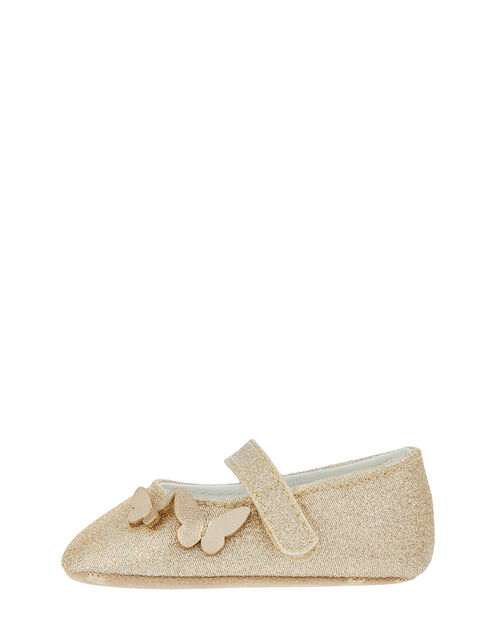 Baby Simone Butterfly Glitter Booties, Gold (GOLD), large