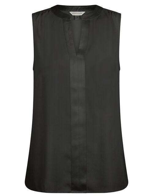 Satin Trim Sleeveless Blouse with LENZING™ ECOVERO™, Black (BLACK), large