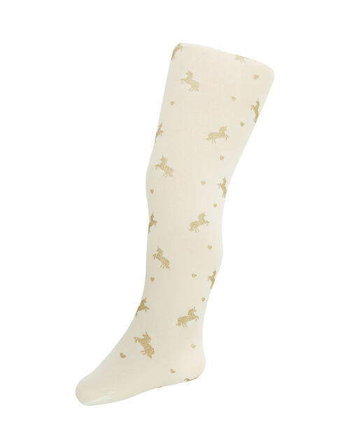 Baby Sparkly Unicorn and Heart Tights, Gold (GOLD), large