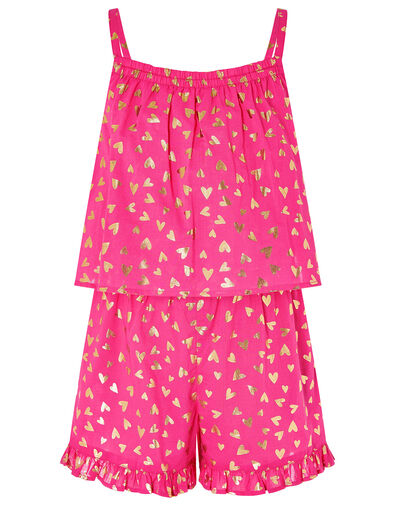 Foil Heart Print Frill Playsuit Pink, Pink (PINK), large