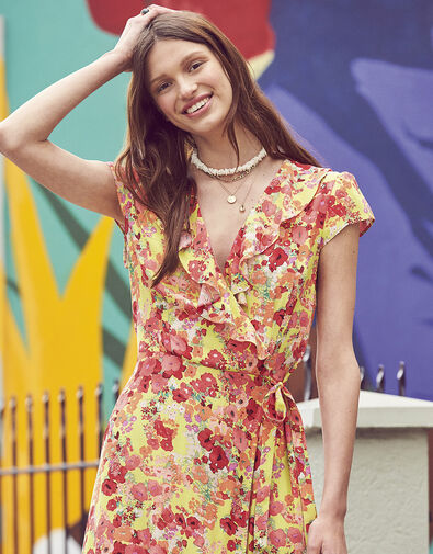 Jocelyn Printed Wrap Dress Yellow, Yellow (YELLOW), large