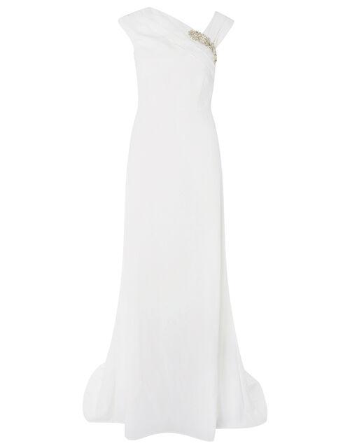 Tess Embellished Brooch Bridal Dress, Ivory (IVORY), large