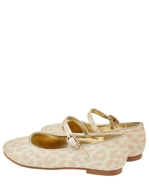 Eloise Leopard Shimmer Ballerina Shoes, Gold (GOLD), large