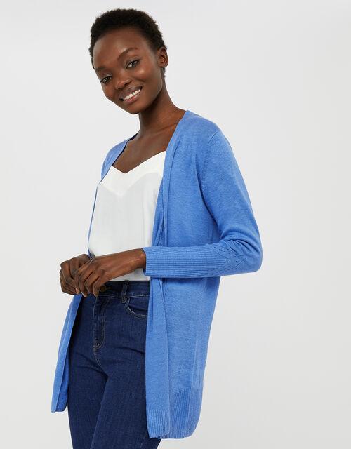 Emilia Longline Cardigan in Pure Linen, Blue (BLUE), large