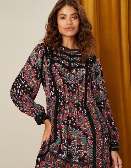 Lace Trim Printed Midi Dress, Black (BLACK), large