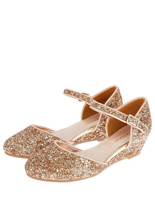 Olivia Glitter Wedges, Gold (ROSE GOLD), large