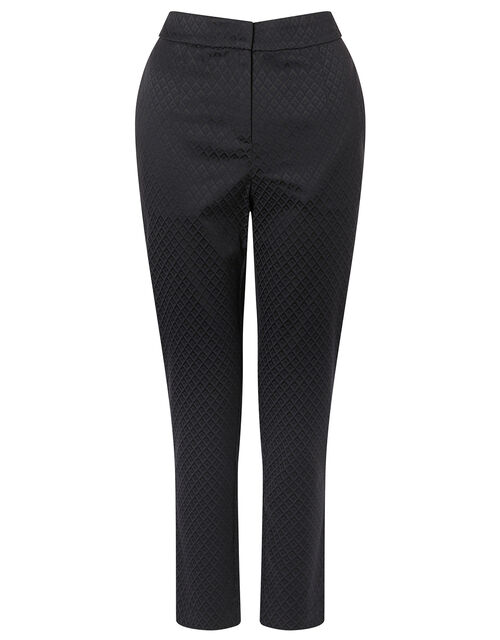 Slim Jacquard Trousers, Black (BLACK), large