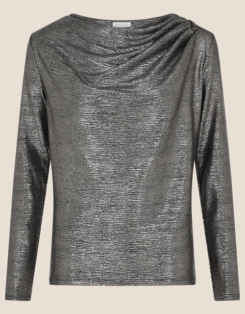Mandy Metallic Cowl Neck Top, Black (BLACK), large