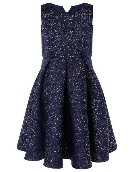 Foil Print Scuba Dress Blue, Blue (NAVY), large