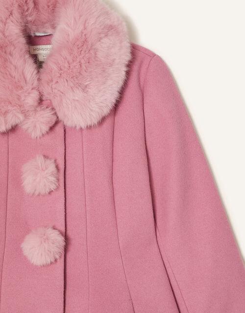 Fluffy Pom-Pom Swing Coat, Pink (PINK), large