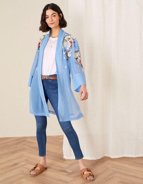Sheer Embroidered Longline Kimono  Blue, Blue (BLUE), large