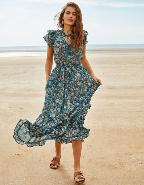 ARTISAN STUDIO Printed Maxi Dress  Blue, Blue (BLUE), large