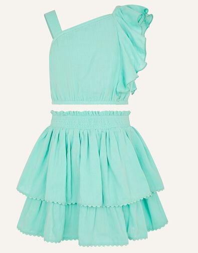 Frill Top and Skirt Set  Blue, Blue (AQUA), large