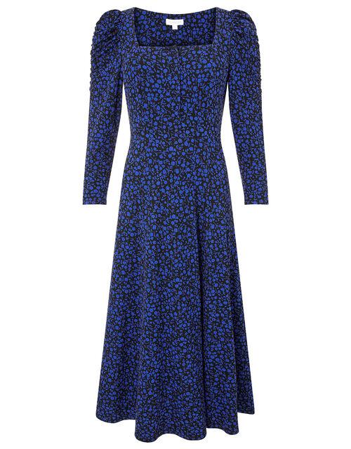 Floral Square Neck Jersey Midi Dress, Blue (COBALT), large