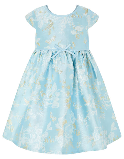 Baby Aries Blue Jacquard Occasion Dress, Blue (BLUE), large