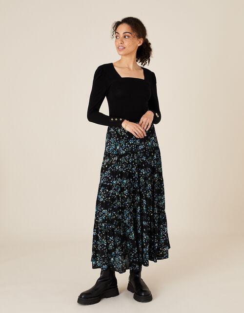 Sable Square Neck Long Sleeve Top, Black (BLACK), large