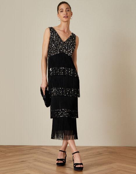 Felicity Fringe Embellished Dress Black, Black (BLACK), large