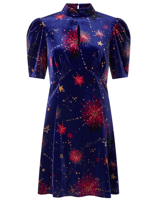 Harper Star Stretch Velvet Short Dress, Blue (COBALT), large