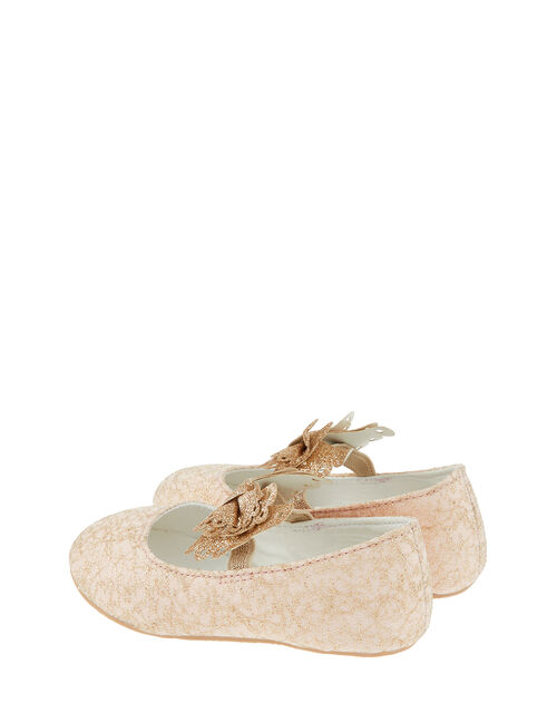 Baby Honey Lace Bow Walker Shoes, Pink (PALE PINK), large