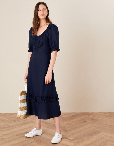 Frill Trim Dress in Pure Linen Blue, Blue (NAVY), large
