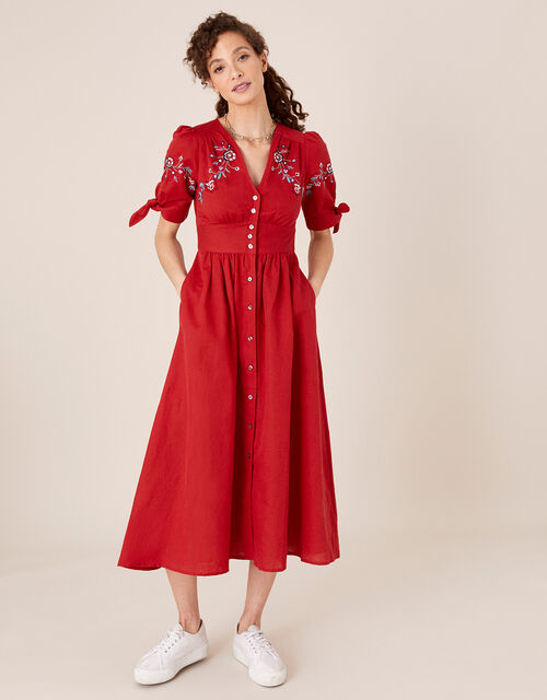 Dolly Floral Embroidered Midi Dress, Red (RED), large