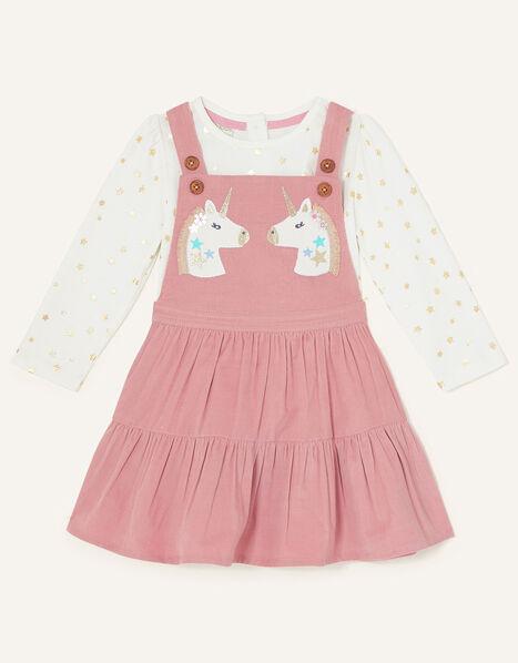 Baby Unicorn Pinny Dress and Top Set Pink, Pink (PINK), large